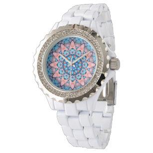 Reloj De Pulsera El caleidoscopio azul del fractal del vintage de