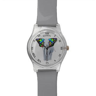 Reloj De Pulsera El elefante gris psicodélico con los oídos de la