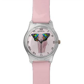 Reloj De Pulsera El elefante rosado psicodélico con los oídos de la