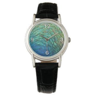 Reloj De Pulsera El pavo real empluma diseño abstracto colorido de