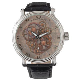 Reloj De Pulsera Engranajes oxidados del metal de Steampunk con las