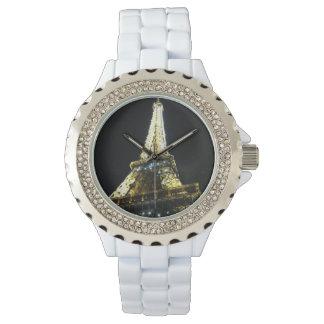 Reloj De Pulsera Esmalte blanco diamante de imitación de París