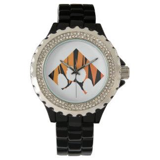 Reloj De Pulsera Esmalte del negro del diamante artificial de