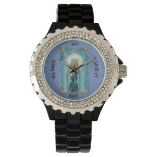 Reloj De Pulsera Esmalte negro diamante de imitación del