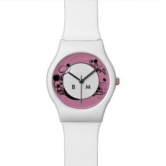 Reloj De Pulsera Estilo del monograma de las señoras