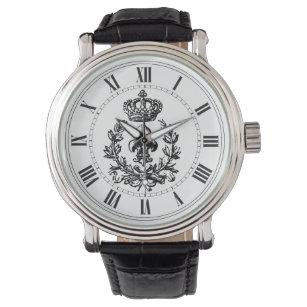 Reloj De Pulsera Flor de lis, corona y guirnalda