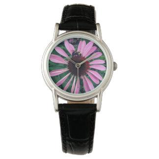 Reloj De Pulsera Flor púrpura viva con la abeja a las 12