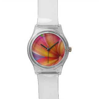 Reloj De Pulsera Flor tropical de color rosa oscuro
