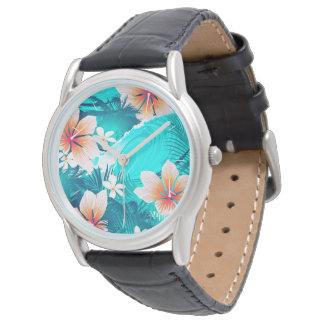 Reloj De Pulsera Flores del hibisco en la playa