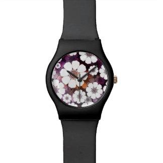 Reloj De Pulsera Flower power púrpura enrrollado