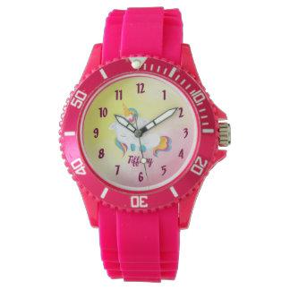 Reloj De Pulsera Fondo rosado y amarillo del amante del unicornio