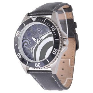 Reloj De Pulsera Fractal rayado azul y negro