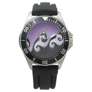 Reloj De Pulsera Fractal violeta, blanco y negro