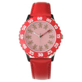 Reloj De Pulsera Galletas del pan de jengibre rojas