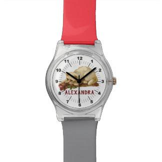 Reloj De Pulsera Gatito blanco del vintage con color de rosa