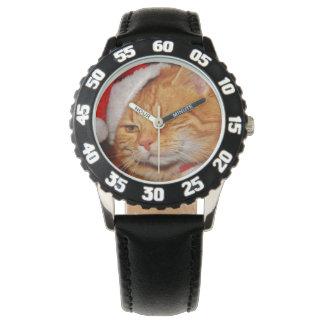 Reloj De Pulsera Gato anaranjado - gato de Papá Noel - Felices