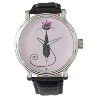 Reloj De Pulsera Gato rosado del gatito del gorra