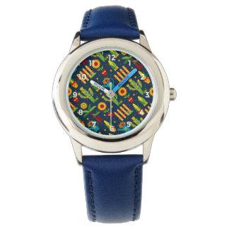 Reloj De Pulsera Girasol del cactus en el modelo azul de Festa