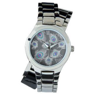 Reloj De Pulsera Gris plateados/plumas grises del pavo real en gris