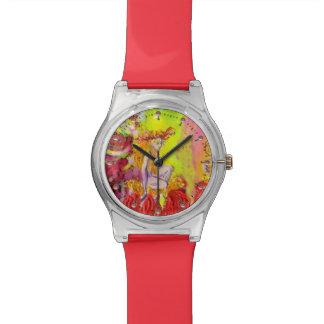 Reloj De Pulsera HADA de la FLOR de la fantasía amarilla roja del