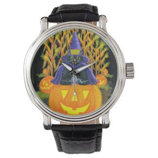 Reloj De Pulsera Halloween, adulto, reloj, negro, gato, ratón,