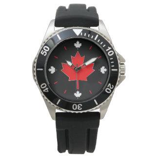 Reloj De Pulsera Hoja de arce canadiense en negro
