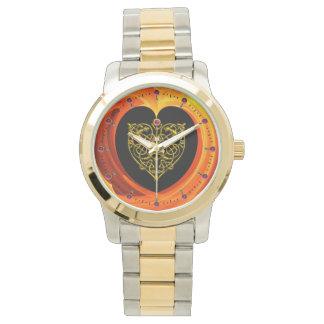 Reloj De Pulsera HOJA DE ORO, amarillo anaranjado negro