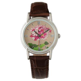 Reloj De Pulsera Hydrangea del japonés del vintage. Rosa y verde