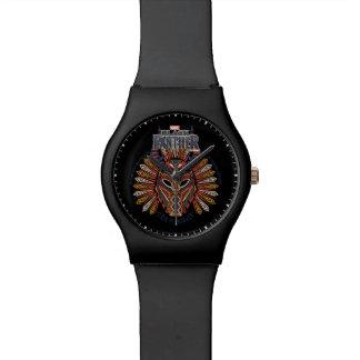 Reloj De Pulsera Icono tribal negro de la máscara de la pantera el