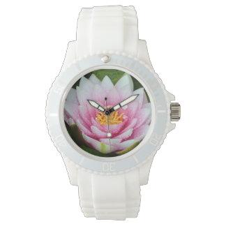 Reloj De Pulsera Impresión floral rosada del lirio de agua