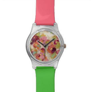 Reloj De Pulsera Jardín coralino y esmeralda