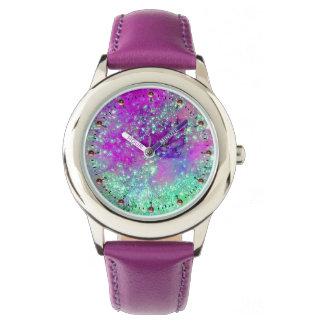 Reloj De Pulsera JARDÍN de la aguamarina púrpura del rosa PERDIDO