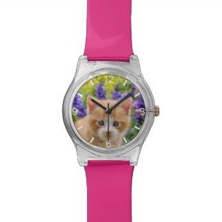 Reloj De Pulsera Jardín florido del jengibre del gatito lindo del