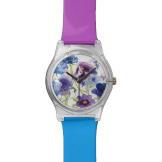 Reloj De Pulsera Jardín mezclado azul y púrpura