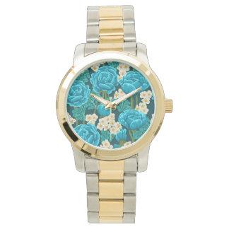 Reloj De Pulsera La aguamarina azul subió gorgeou pintado a mano