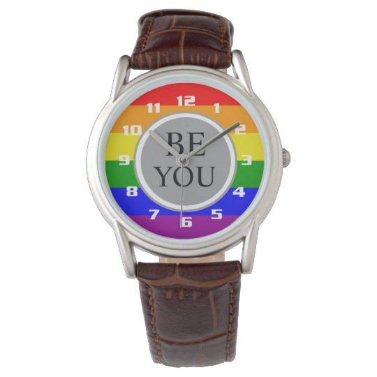 a0ecb55e2013 Reloj De Pulsera La bandera fresca del orgullo gay sea usted