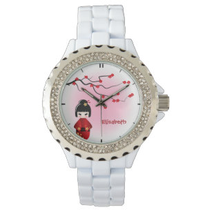Reloj De Pulsera La muñeca japonesa del kokeshi en Sakura florece