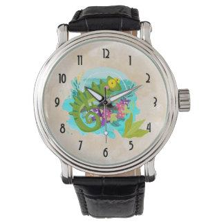 Reloj De Pulsera Lagarto tropical con las flores