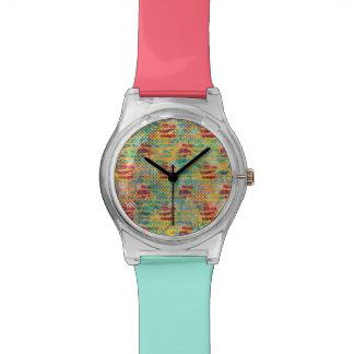 Reloj De Pulsera Lunar tropical del hibisco de la acuarela