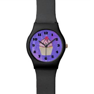 Reloj De Pulsera Magdalena dulce con la frambuesa en el top