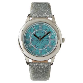 Reloj De Pulsera Mandala de la flor de Lotus del verde azul