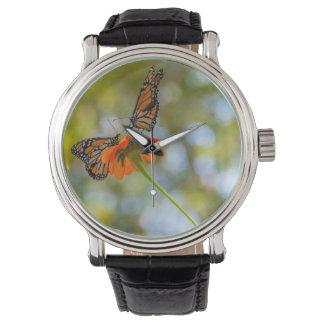 Reloj De Pulsera Mariposas de monarca en Wildflowers