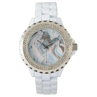 Reloj De Pulsera Mármol blanco y azul del modelo de los tonos