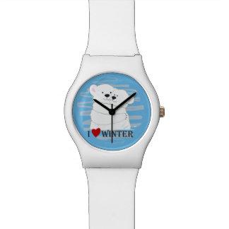 Reloj De Pulsera Moda linda polar del azul del abrazo del invierno