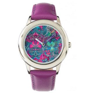 Reloj De Pulsera Modelo azul del lux del pájaro del jardín floral