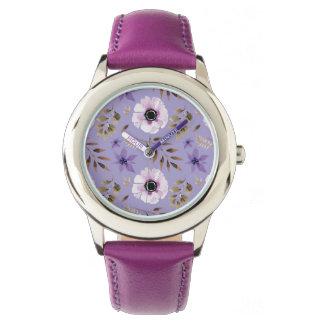 Reloj De Pulsera Modelo botánico floral púrpura dibujado romántico
