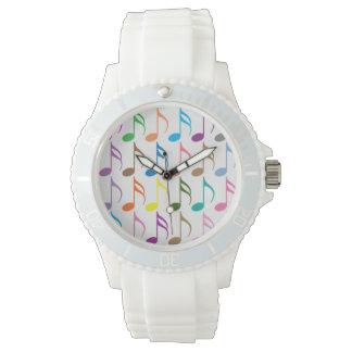 Reloj De Pulsera Modelo colorido de las notas musicales