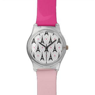 Reloj De Pulsera Modelo de los lunares y de los corazones de la