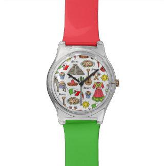 Reloj De Pulsera Modelo de los símbolos de México el |