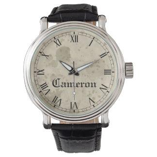 Reloj De Pulsera Modelo de papel llevado vintage con nombre de